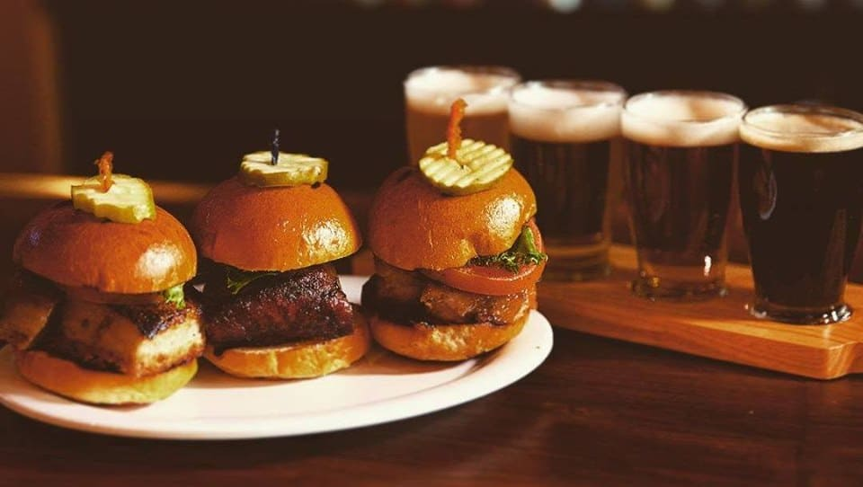 Slider burgers and beer at Goathouse Brewing