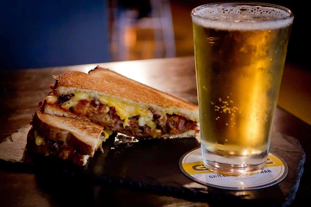 Sandwhich and Beer at Goathouse Brewing